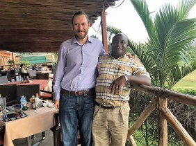 Scott Laslo with Theophilus Kamara, the Laslos' partner in Africa. (contributed)