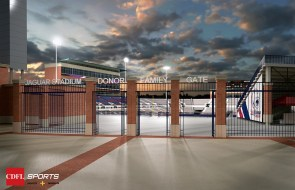 A rendering shows the southeastern gate of the planned on-campus football stadium at the University of South Alabama. (CDFL Sports Architects + Engineers)