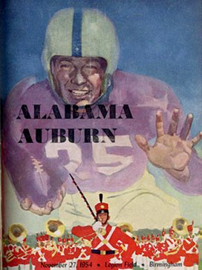A program for the 1954 Iron Bowl between the Auburn University Tigers and the University of Alabama Crimson Tide. The Tigers defeated the Crimson Tide, 28-0, at Legion Field in Birmingham. (From Encyclopedia of Alabama, courtesy of Auburn University Special Collections and Archives)