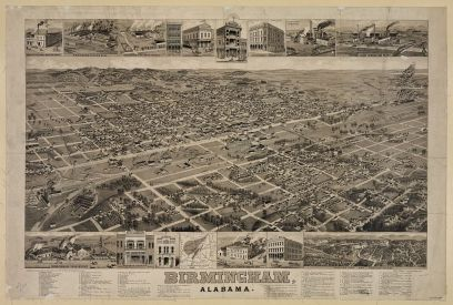 Bird's eye view of Birmingham, circa 1885. (Norris, Wellge & Co., Library of Congress, Prints and Photographs Division)