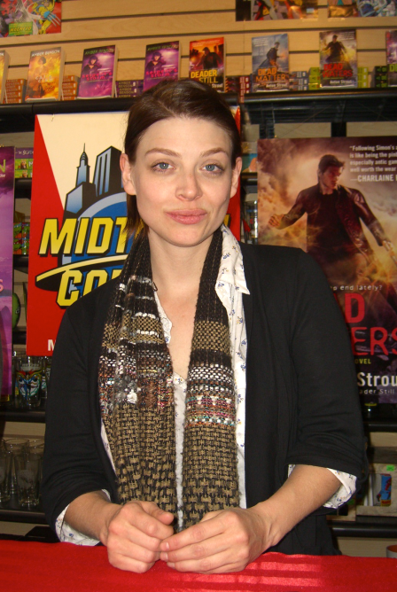 """Buffy the Vampire Slayer"" star, director, producer and novelist Amber Benson at Midtown Comics Downtown in Manhattan, where she signed autographs and posed for photographs with fans while promoting her book ""Serpent's Storm,"" March 5, 2011. (Nightscream, Wikipedia)"