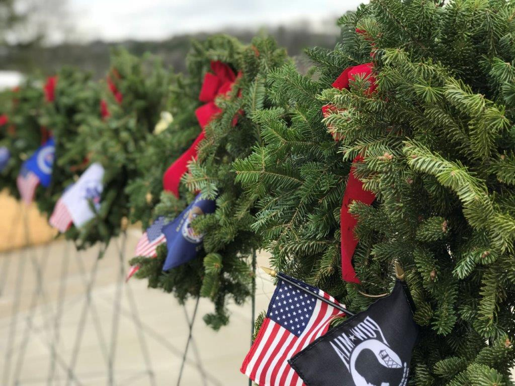 Ceremonial wreaths representing each branch of service were presented by family members and service members as part of the Wreaths Across America ceremony at the Alabama National Cemetery. (Michael Tomberlin / Alabama NewsCenter)