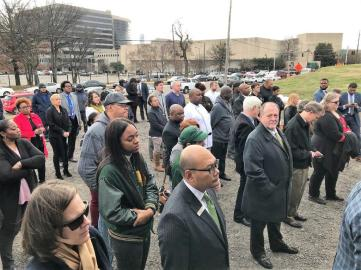 A large audience attended the groundbreaking for the $175 million stadium next to the BJCC. (Dennis Washington / Alabama NewsCenter)