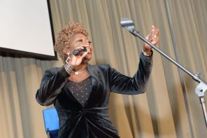 Comedian Mrs. V provided laughs as the program emcee. (Jerome Smedley)
