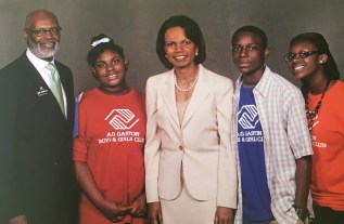Birmingham native and former U.S. Secretary of State Condoleezza Rice, center, has been a long-time supporter of the A.G. Gaston Boys and Girls Club. (contributed)