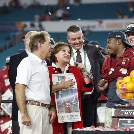 Crimson Tide Head Football Coach Nick Saban joined by wife Terry Saban and Damian Harris. (Kent Gidley)