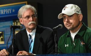 UAB coach Bill Clark with MTSU staffer Ed Arning. (Solomon Crenshaw Jr. / Alabama NewsCenter)