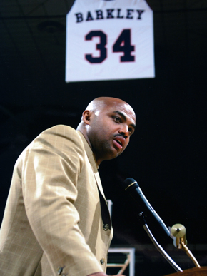 Charles Barkley (1963- ) gained fame in the 1980s and 1990s as an NBA basketball player and continues to contribute to the game through analysis and commentary. He played three seasons for the Auburn University Tigers before entering the NBA with the Philadelphia 76ers in 1984. Barkley's NBA career spanned 16 seasons and included numerous All-Star appearances, league Most Valuable Player honors for the 1992-93 season and an Olympic Gold Medal in 1996. Barkley's number 34 was retired by Auburn University during a ceremony on March 3, 2001. (From Encyclopedia of Alabama, courtesy of Auburn University)