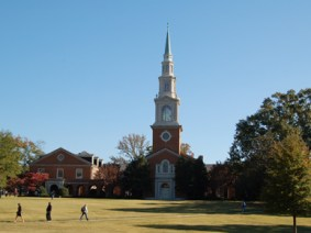 A. Hamilton Reid Chapel, located on the east side of the Quad on the campus of Samford University, adjoins Percy Pratt Burns Hall to the north and James H. Chapman Hall to the south. (From Encyclopedia of Alabama, photograph by Justin Dubois)