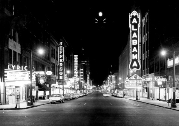 This view depicts Birmingham's Third Avenue North, looking eastward from 18th Street in 1959, when the thoroughfare was filled with movie palaces. The Lyric Theatre, now a performance space, is located at the far left. (From Encyclopedia of Alabama, photo courtesy of the Birmingham Public Library)