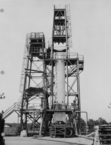 Marshall Space Flight Center, Redstone rocket (missile) test stand, Huntsville. (Library of Congress, Prints and Photographs Division)