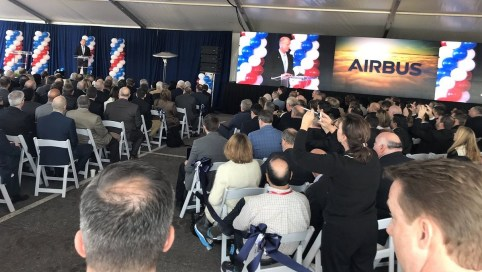 Airbus CEO Tom Enders speaks at the groundbreaking ceremony for the company's new A220 assembly line in Alabama, which will create more than 400 jobs in Mobile. (Airbus)
