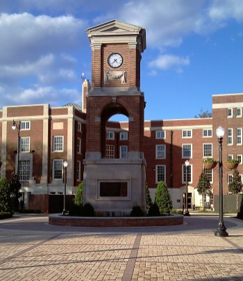 Autherine Lucy Clock Tower in Malone-Hood Plaza on the campus of the University of Alabama in Tuscaloosa, 2010. (Ttownfeen, Wikipedia)