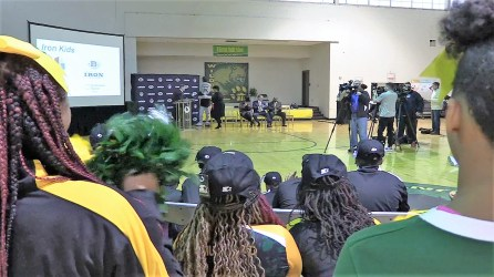 The Birmingham Iron and its partners launched the Iron Kids healthy living program with its partners at Wilkerson Middle School (Dennis Washington / Alabama NewsCenter)