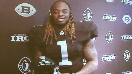 Trent Richardson, running back for the Birmingham Iron, launched the Iron Kids program via a video. (Dennis Washington / Alabama NewsCenter)