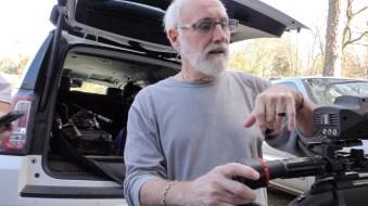 Rick Clark works on hunting gear for Kidz Outdoors. (Karim Shamsi-Basha / Alabama NewsCenter)