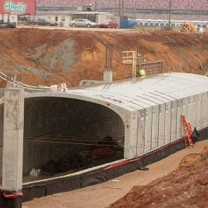 Scenes from the construction site that's underway at Talladega. (Dennis Washington)