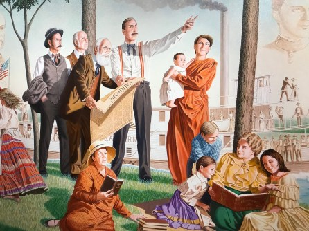 A mural by Dean Mosher depicts the founding of the city of Fairhope. (Dan Bynum/Alabama NewsCenter)