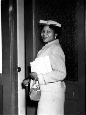 Autherine Lucy in 1956, the year she became the first African-American to attend the University of Alabama in Tuscaloosa. (From Encyclopedia of Alabama, courtesy of W.S. Hoole Special Collections Library, The University of Alabama Libraries)