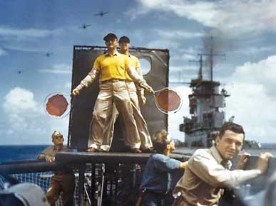 Lt. David McCampbell serves as landing signal officer aboard the USS Wasp (CV-7) ca. 1942. (From Encyclopedia of Alabama, courtesy of the U.S. Navy)