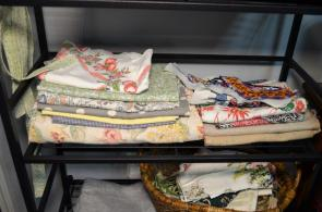 Thimbletreestudio uses old bed linens, tablecloths, drapery and even clothing to create something new. (Michael Tomberlin / Alabama NewsCenter)
