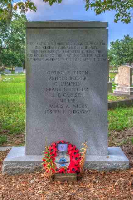 H.L. Hunley memorial marker, 2016. (Dsdugan, Wikipedia)