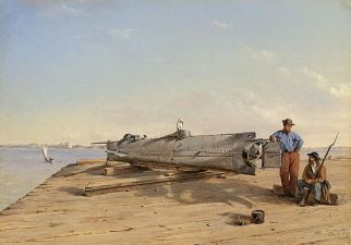 Painting of the submarine torpedo boat, H.L. Hunley, by artist Conrad Wise Chapman. (American Civil War Museum, Wikipedia)