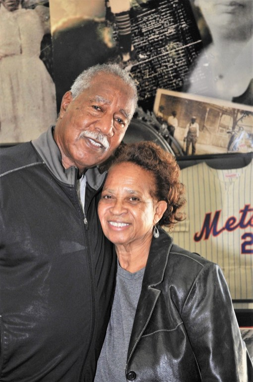 Cleon Jones with his wife, Angela, at the Africatown Museum in Mobile. (Karim Shamsi-Basha/Alabama NewsCenter)