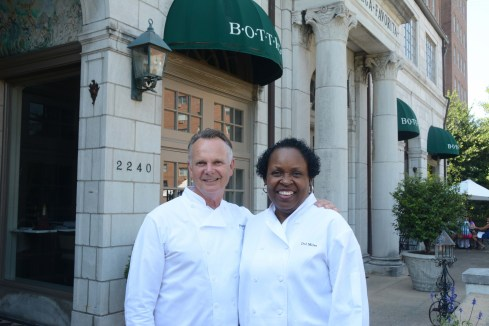 Frank Stitt and Dolester Miles in front of Bottega, one of Stitt's four Birmingham restaurants. Miles, who creates the desserts for all of them, won 2018's James Beard Award for the nation's best pastry chef. (file)