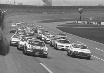 Geoff Bodine (No. 50) and Talladega 500 winner Darrell Waltrip pace the field at the Talladega Superspeedway in 1982. (ISC Archives via Getty Images)