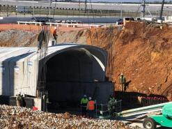 Despite the rains, the Talladega Superspeedway Transformation Turn Three Oversized Tunnel project is on schedule to be complete long before the race in April. (Talladega Superspeedway)
