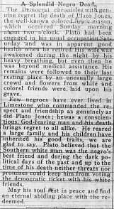 Plato Jones' obituary in the Limestone Democrat on April 26, 1917. (contributed)