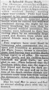 Plato Jones' obituary in the Limestone Democrat on April 26, 1917. (contributed)