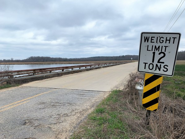 This bridge and roadway in Maplesville hasn't been maintained and can no longer support trucks or school buses, Alabama Gov. Kay Ivey said. It's indicative of infrastructure improvement needs throughout the state, she said. (Dennis Washington / Alabama NewsCenter)