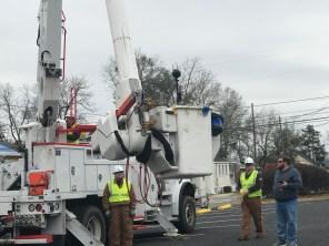 A 360-degree virtual reality camera is mounted in an Alabama Power lineman's bucket. (Linda Brannon/Alabama NewsCenter)