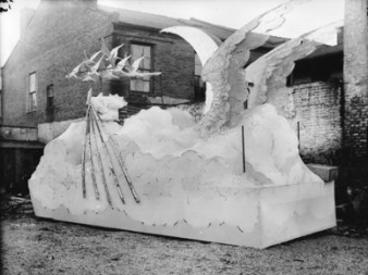 "The 1895 Knights of Revelry float was fittingly dressed for the theme that year, which was ""Walking on a Rainbow of Clouds."" (From Encyclopedia of Alabama, S. Blake McNeely Collection, The Doy Leale McCall Rare Book and Manuscript Library)"