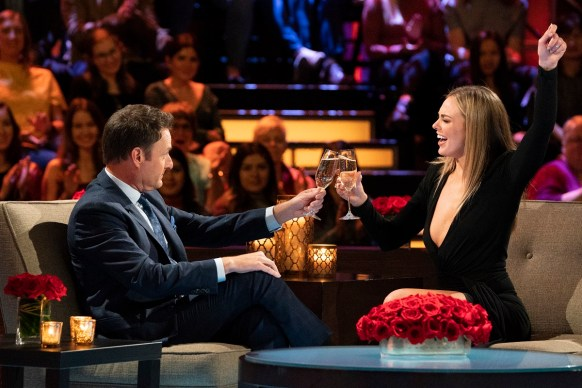 """Hannah Brown appears with host Chris Harrison on """"The Women Tell All"""" episode of """"The Bachelor."""" (Eric McCandless/ABC)"""