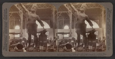 Colossal iron statue of Vulcan, in the Mines Building, St. Louis World's Fair, c. 1904. (Underwood & Underwood, Library of Congress, Prints and Photographs Division)