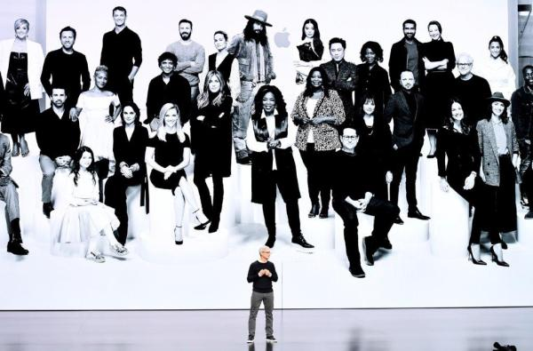 Apple CEO Tim Cook speaks during an event at the Steve Jobs Theater in Cupertino, California, on Monday. The company is unveiling streaming video and news subscriptions, key parts of Apple's push to transform itself into a leading digital services provider. (David Paul Morris/Bloomberg)