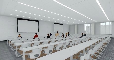 This rendering shows a lecture hall in the new academic classroom and laboratory complex scheduled to be constructed at Auburn University. (Auburn University)