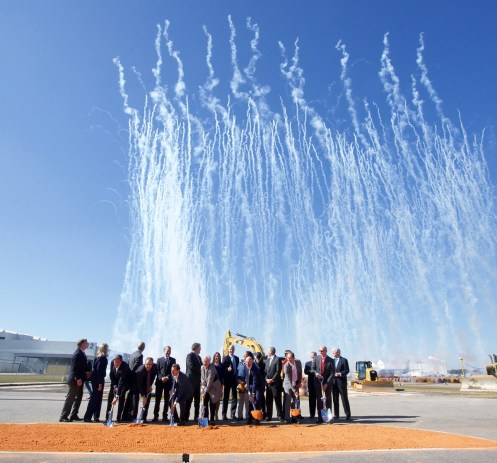 Fireworks accompany a ceremonial groundbreaking for Airbus' new A220 assembly line in Mobile. (Alabama Governor's Office)