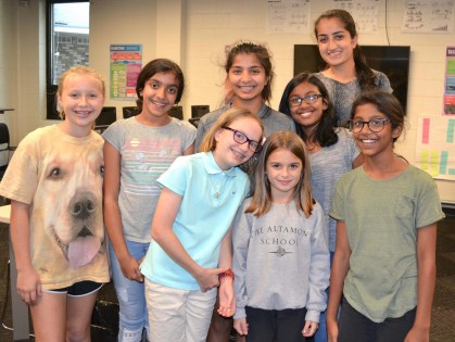 Lakhanpal with members of the Altamont Girls Who Code club she started. (Karim Shamsi-Basha/Alabama NewsCenter)