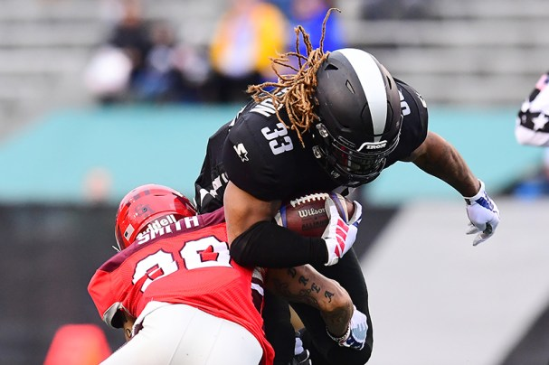 Iron and former Alabama RB Trent Richardson breaks a Commander tackle. Richardson recorded a rushing touchdown in Sunday's game against San Antonio, bringing his season total to seven, which leads the Alliance.(Getty Images/The AAF)