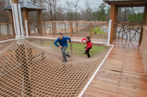 Young visitors try out the new playground at Double Cove, Logan Martin Lake. The project is part of a series of improvements planned for Alabama Power's lakes throughout the state. (Billy Brown/Shorelines)