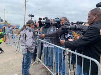 Jeffrey Earnhardt speaks with the media after opening the new oversized vehicle tunnel at Talladega Superspeedway (Dennis Washington / Alabama NewsCenter)