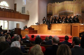 A delegation from the U.S. Congress stopped by Birmingham's 16th Street Baptist Church on Friday. (Justin Averette/Alabama NewsCenter)
