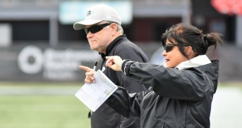 Lori Locust on the sideline as a Birmingham Iron assistant. (Solomon Crenshaw Jr./Alabama NewsCenter)
