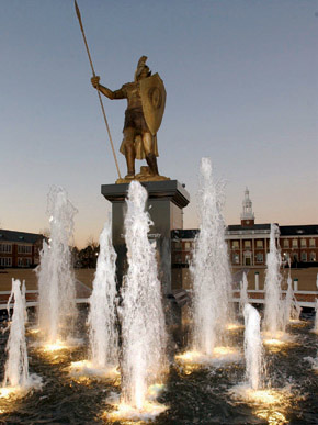 A statue of a Trojan soldier, the Troy University mascot, stands above the fountain at the center of the school's main quad. (From Encyclopedia of Alabama, courtesy of Troy University)