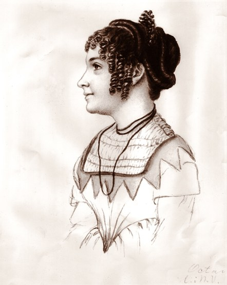 An 1851 sketch of Octavia Walton Le Vert by Swedish feminist and writer Fredrika Bremer, who befriended Le Vert during her European travels. (From Encyclopedia of Alabama, courtesy of Alabama Department of Archives and History)