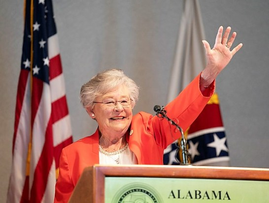 """Governor Kay Ivey delivered a """"State of the State"""" address at the Montgomery Area Chamber of Commerce breakfast. (Governor's Office/Hal Yeager)"""